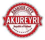 "Akureyri City Iceland Grunge Travel Stamp Car Bumper Sticker Decal 5"" x 4"""
