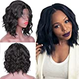 Short Bob Haircut Wavy Synthetic Lace Front Wigs for Black Women Glueless Charming Synthetic Wigs with Baby Hair 14 Inch