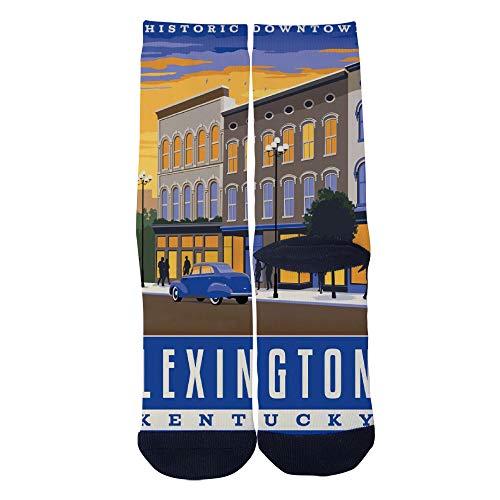 Mens Womens Casual Lexington KY Retro Travel Poster Socks Novelty Custom Socks Hip Hop Cartoon Socks Elite Crew Socks Black ()