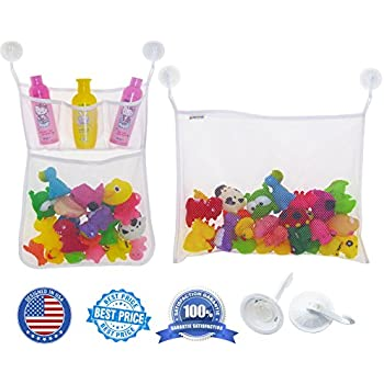 LuckyOrex Bath Toy Organizer Set - Bath Toy Storage Organizer + Large Storage Net Bag with Pockets for Shower Accessories - Cosmetics + 6 Strong Suction Hooks for Smooth Surfaces - for Kids and Adults