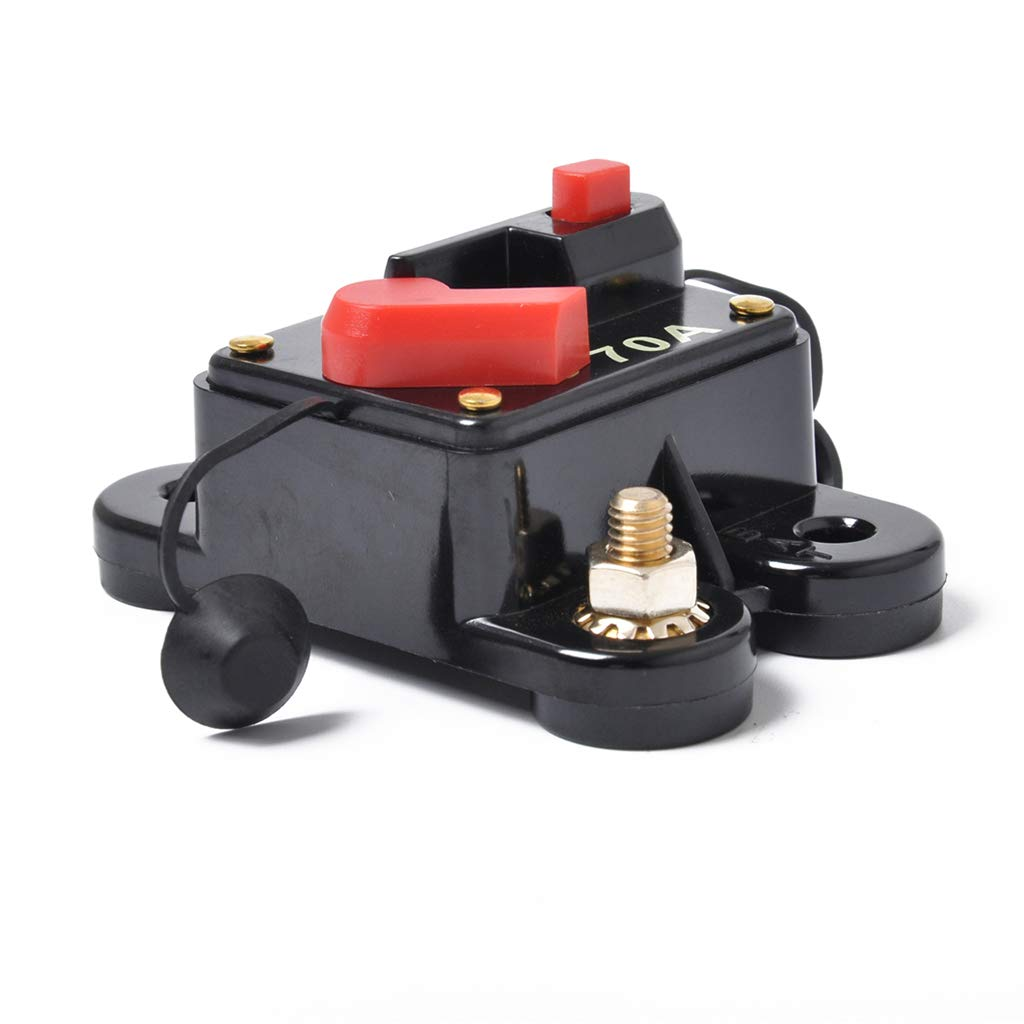 Waterproof 70Amp Circuit Breaker Reset Fuse Holder Inline Fuse for Auto Car Marine Boat Stereo Switch Audio Inverter System Protector