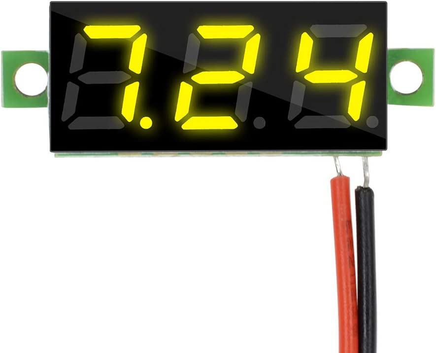 5 Colors Diymore 5pcs Mini Digital Voltmeter 0.28 2 Wire DC 2.5V-30V White//Blue//Yellow//Red//Green LED Panel Display Voltage Tester DC Volt Meter