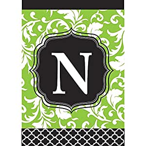 Monogram N Filigree Green and Black Shield 18 x 13 Rectangular Double Applique Small Garden Flag