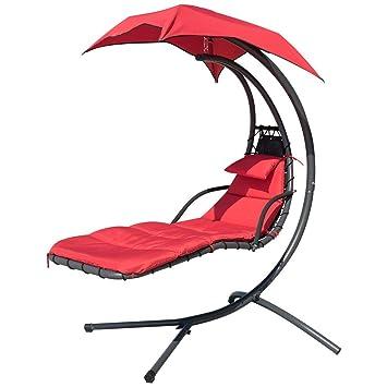 Amazon.com: Beige Hanging chaise lounge silla arco Soporte ...