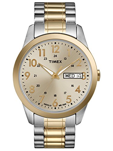 Calendar Display Expansion Band - Timex Men's South Street Sport Watch, Two-Tone Stainless Steel Expansion Band Dad Gift