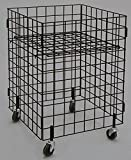 Metal Grid Dump Bin w/Casters Merchandise Display Store Rack Fixture Black NEW