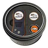 Team Golf NFL Denver Broncos Gift Set Switchfix Divot Tool with 3 Double-Sided Magnetic Ball Markers, Patented Single Prong Design, Causes Less Damage to Greens, Switchblade Mechanism