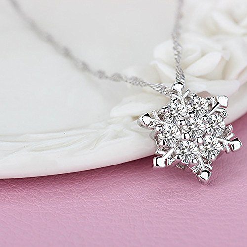 Snowflake Pendant Necklace,Haluoo 925 Sterling Silver Pendant Necklace Women Delicate Rhinestone Snowflake Pendant Chain Dainty Cubic Zirconia Romantic Lewelry Gift Xmas Gifts (White)