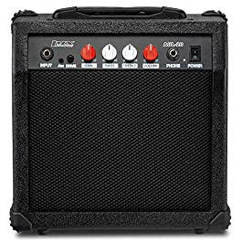 LyxPro Electric Guitar Amp 20 Watt Amplifier Built In Speaker Headphone Jack And Aux Input Includes Gain Bass Treble…