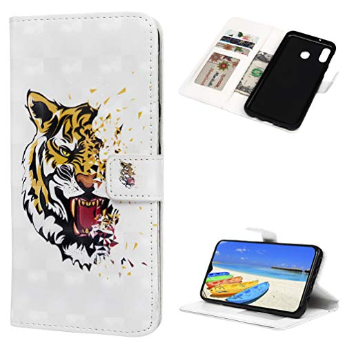 Samsung M20 Case,3D Effect Painted Front Buckle Leather TPU Silicone Rubber Anti-Scratch Shockproof Support Bracket FunctionThin Mobile Phone Case. Open Mouth Tiger