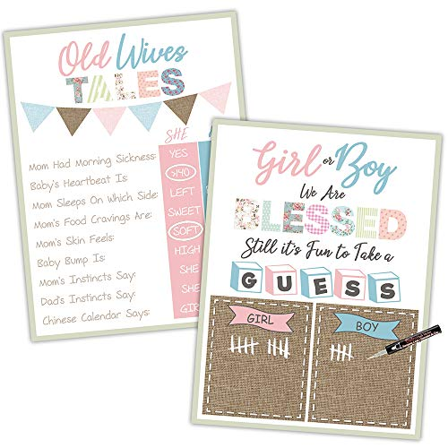 - Gender Reveal Party Supplies Decorations - Game Posters Old Wives Tales Baby Prediction and Boy or Girl Scoreboard Shabby Chic 18x24 inches- Baby Shower Gender Reveal Games and Decorations All in One