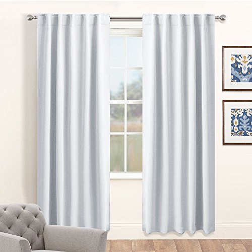 White Curtain Panels Room Darkening - Light Block Window Curtains for Kitchen / Bedroom with Back Tab Slot Top Home Decoration Draperies by PONY DANCE, 42 Wide by 84 Long, Greyish White, 2 Pcs (Curtain Tab Top)