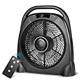 Appliances : Trustech Remote Floor Fan - 48 Inch Quiet Table Fan with Adjustable Speeds & Automatic Shutoff Timer, Sleep & Powerful Modes, Portable Box Fan for Home Bedroom Office