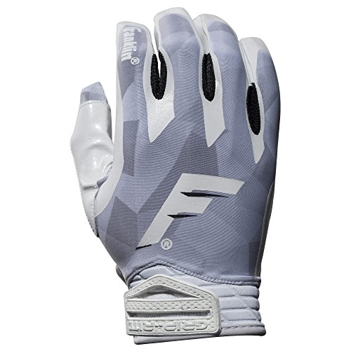 Franklin Sports Grip-Rite 1000 Football Receiver Gloves White, Adult Small