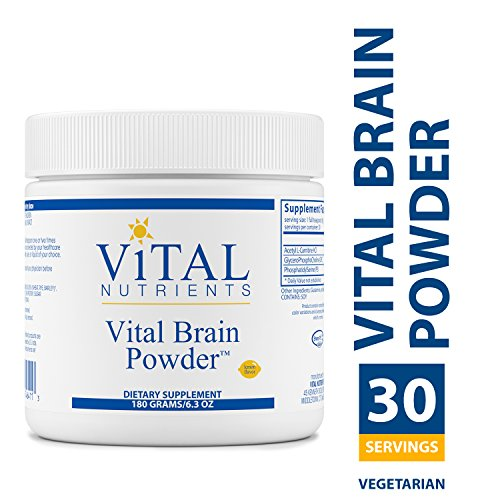 Brain Nutrients (Vital Nutrients - Vital Brain Powder - Natural Lemon Flavor - Support for Brain Health and Cognitive Function - Vegetarian - 180 Grams)