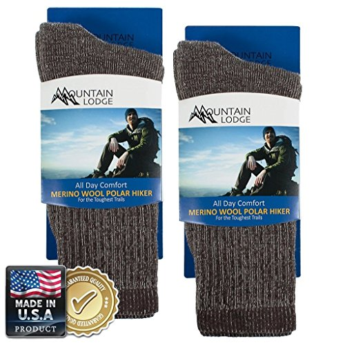 2pk Men's or Women's Mountain Lodge 80% Merino Wool Socks Thermal Hiking Crew ()