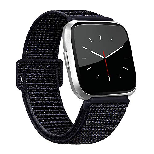 AK Bands Compatible with Fitbit Versa, Soft Replacement Wristband Sport Loop with Fastener Adjustable Closure for Fitbit Versa Lite Women Men (Black Sand, 5.5 - 9.4)