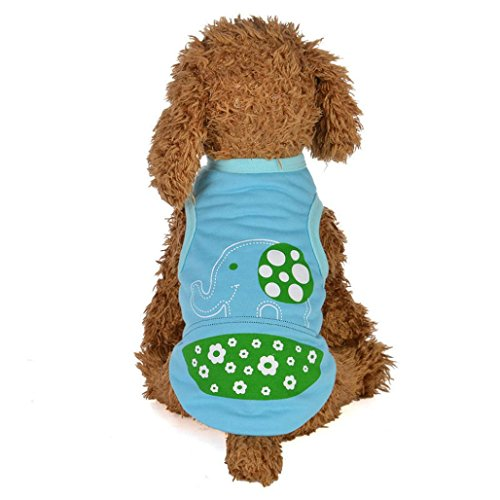 Iuhan Pet Clothes, Elephant Spring and Summer Cartoon Vest Dog Costumes Pet Clothes (M, Blue)