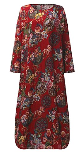 Jaycargogo Femmes O Manches Longues En Coton Imprimé Floral Cou Rouge Robe Maxi Lâche