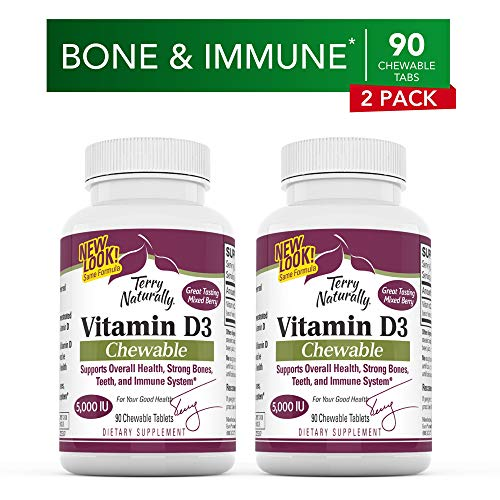 Terry Naturally Vitamin D3 (2 Pack) - 125 mcg Cholecalciferol, 90 Chewable Tablets - Supports Strong Bones & Teeth, Promotes Healthy Immune System - Non-GMO, Gluten-Free - 180 Total Servings