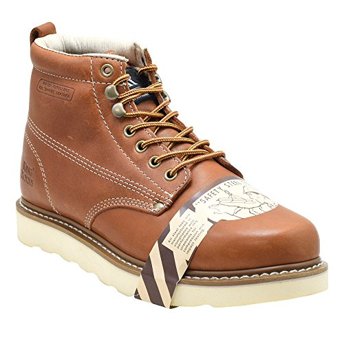 King Rocks Mens 6 Veiligheid Teen Lace Up Brun