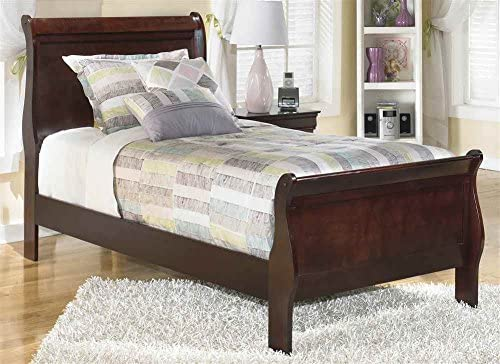 Ashley Express Twin Sleigh Bed in Dark Brown Finish