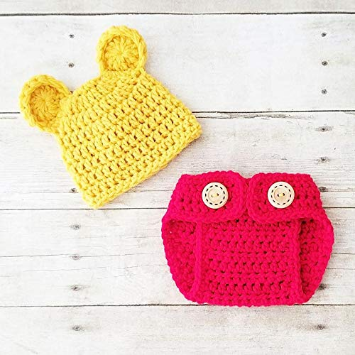 Amazoncom Crochet Baby Pooh Bear Hat Beanie Diaper Cover Set