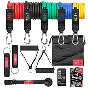 Kit Élastique Musculation Fitness + Guide Exercices, 5X Bandes de Résistance Tubes Professionnels + Poignées, Ancre de…