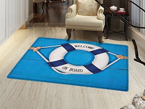 smallbeefly Buoy Door Mats Area Rug Welcome on Board Sign on Painted Timber Wall Life Buoy Tightened with Rope Floor mat Bath Mat for tub Blue Navy Blue White
