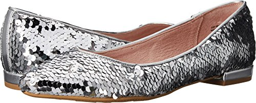 Chinese Laundry Women's Gavin Pointed Toe Flat, Silver Sequins, 9 M US