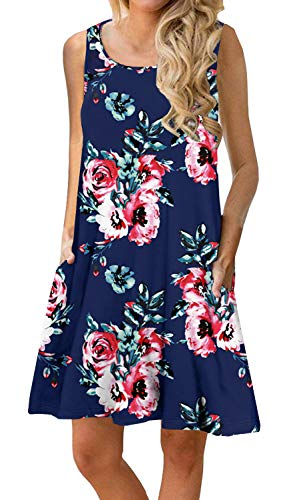 PrinStory Women Summer Floral Print Casual T Shirt Dresses Beach Cover Up Plain Pleated Tank Dress Floral Print Navy Blue L