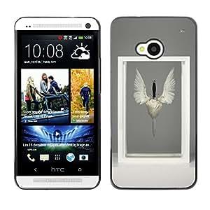 GOODTHINGS ( NO PARA HTC ONE MINI M4) Funda Imagen Diseño Carcasa Tapa Trasera Negro Cover Skin Case para HTC One M7 - alas de pájaro símbolo de la espada moderna marco del arte
