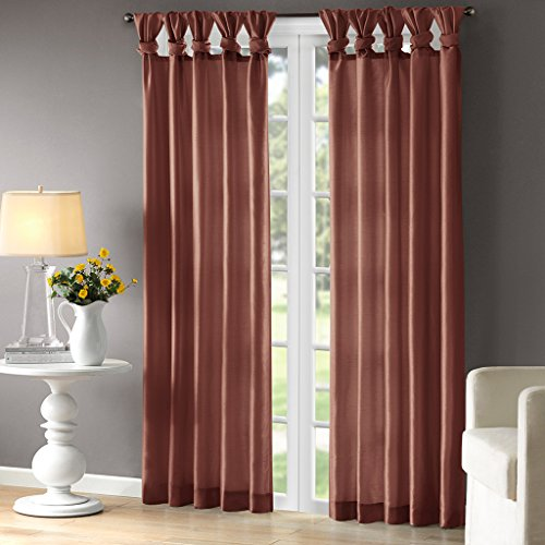 Madison Park Emilia Room-Darkening Curtain DIY Twist Tab Window Panel Black Out Drapes for Bedroom and Dorm, 50x95, Spice (Curtains Spice)