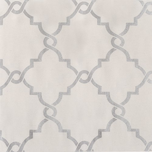 Madison Park Saratoga Room-Darkening Curtain Fretwork Print 1 Window Panel with Grommet Top Blackout Drapes for Bedroom and Dorm, 50x63, Ivory (Grey And Ivory Curtains)