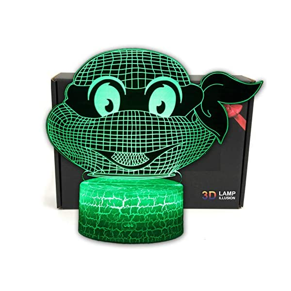 Ninja Turtles Cartoon Illusion LED Desk Lamp Night Light with Lighted ABS Base and USB Cable,7 Colors Change,Smart Touch Button Control,for Living Bed Room Home Decor Creative Gift Toys