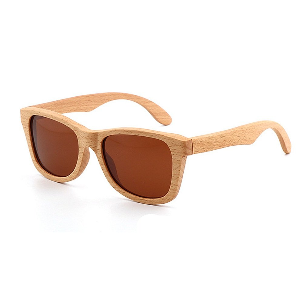 Brown Personality Wild Handcraft Simple Style Wood Sunglasses UnisexAdult Polarized UV Predection for Men Women Tourist Shopping Party (color   Brown)
