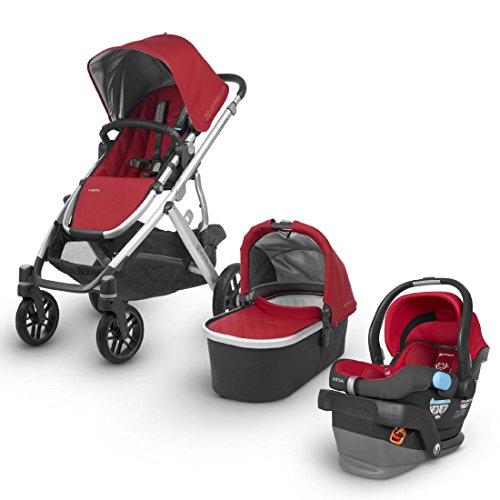 2018 UPPABaby VISTA Stroller -Denny (Red/Silver/Black Leather) + MESA- Denny (Red)