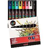 Uniball PC5M/8 UNI POSCA Pochette 8 marqueurs peinture à eau Pointe moyenne Assortis