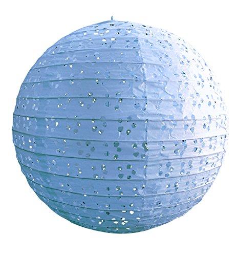Quasimoon PaperLanternStore.com 8'' Round Eyelet Lace Look Paper Lantern - Artic Blue