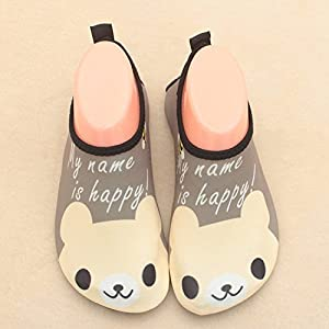 GFtime Water Shoes Kids Boys, Toddler Skin Aqua Shoes Quick Dry Barefoot Slip-on for Beach Swim Pool Sport Brown 7 8 inch