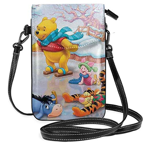 Lbbb Pooh Bear Skiing PU Leather Small Cross Body Bag-Cell Phone Purse Smartphone Wallet with Shoulder Strap Handbag for Women ()