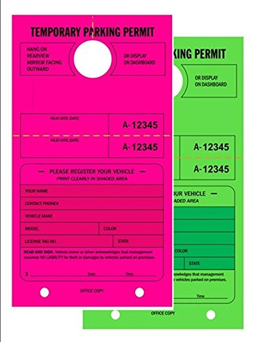 TEMPORARY PARKING PERMIT - Mirror Hang Tags, Numbered with Tear-Off Stub, 7-3/4 x 4-1/4, Bright Fluorescent Green and Pink, 50 Per Pack - Double-Pack (100 Tags)