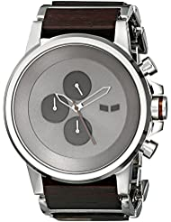 Vestal Mens PLWCM001 Plexi Wood Analog Display Japanese Quartz Silver Watch