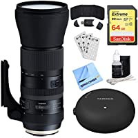 Tamron SP 150-600mm F/5-6.3 Di VC USD G2 Zoom Lens for Canon (AFA022C-700) + Accessory Bundle Includes, Tamron TAP-In Console Lens Accessory, 64GB Memory Card, Card Reader, Card Wallet & More