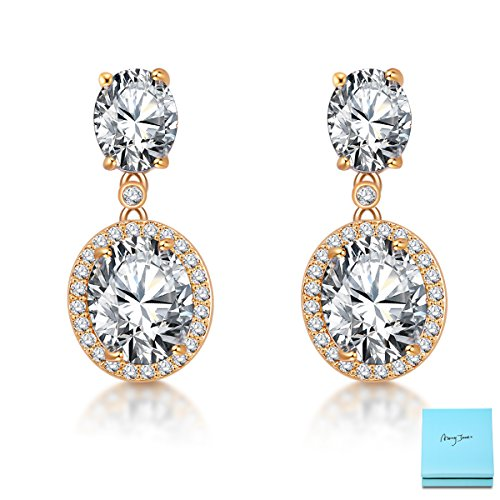 Gold Plated Wedding Earrings (Gold Wedding Earrings - 14k Gold Plated Sterling Silver Cubic Zirconia Crystal Rhinestone Drop Earrings for Bride Bridesmaids Womens Bridal Jewelry)
