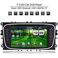 Qiilu 2 Din 7 Android 5.1 Car DVD Player GPS Navigation Map Bluetooth AM/FM for Ford Mondeo Focus S-Max 2007-2011+ Camera