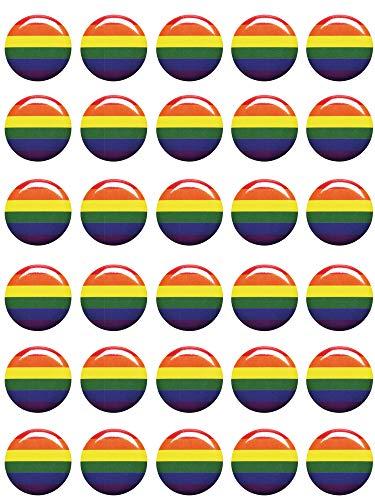 Mayam 30 Pieces Rainbow Pride Buttons Pins Gay Pride Button Pins Rainbow Flag Pinback Button,1 inch (color 1, 30)