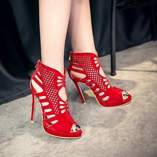 Suede cremallera impermeable sandalias de plataforma de tacón alto de los pescados Zapatos de mujer Roma Bellas Tamaño Botas gules