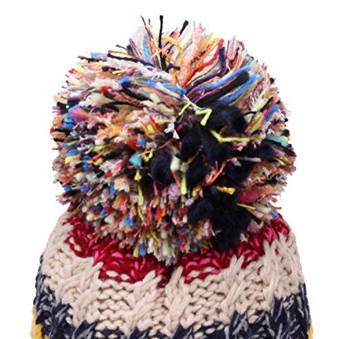 Women Winter Beanie Warm Colorful Cable Knit Fleece Lined Pom Hat ... 7f9b92601ec9