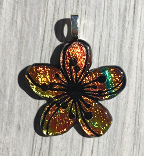 Dichroic Fused Glass Pendant - Yellow Orange Plumeria Flower Laser Engraved Etched Pendant